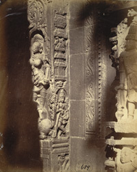 Carved figure of Ganga at base of rear gopura of the Venkataramana Temple, Tadpatri
